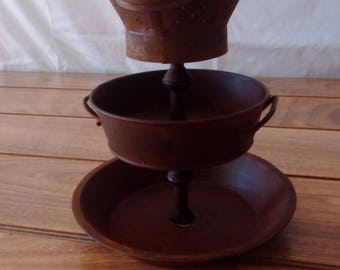Rusty Rustic 3 Tiered Decorative Container