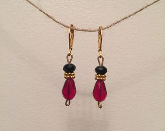 Black & red crystal earrings