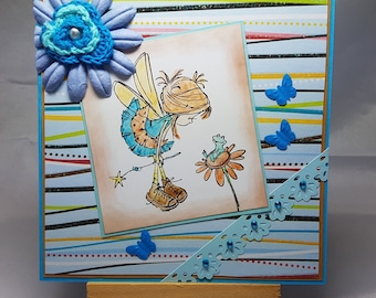 Handmade birthday girl, all occasions, fairy, frog, butterfly card.