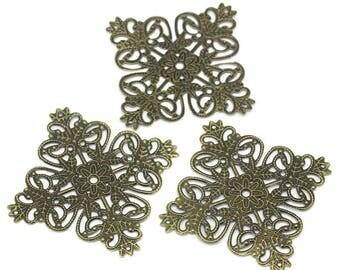 2 filigree connectors bronze square prints