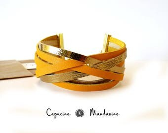 Leather strap bracelet - Golden saffron yellow