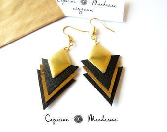 Triangle gold - gold {wife earrings romantic jewelry} black leather earrings