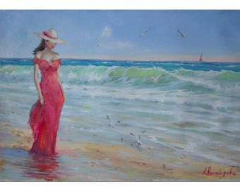 Oil painting, Seascape wall art, Sea painting, Sea landscape, Woman painting, Romantic gift, Gift for her, Valentines day gift, Oil artwork