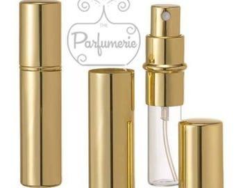 12 ml. Gold SHINY METALLIC Sleek Spray Atomizer Perfume Cologne Refillable Travel Size Wholesale Bottle Empty