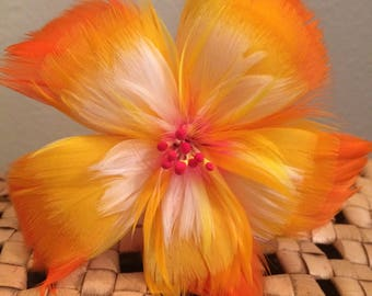 Tropical Orange & Yellow Hibiscus Feather Flower Ear Pick,Wedding Jewels,Monarchy Jewels,Hawaiian Wear,Tahitian Wear,Hula Girl,Local Girl
