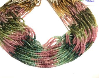 5 strand of Tourmaline beads, Tourmaline faceted rondelle beads 2mm