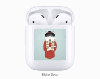 AirPods Case Stickers Hipster Doggy, Fashion Dog, Husky, Camo, Wraps, Skin, Cover, Decal