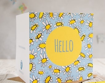 Hello blank greetings card, hello note card.