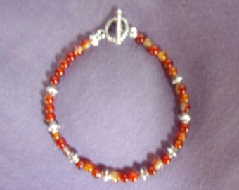 Red agate and pewter bracelet