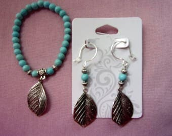Turquoise magnesite stretch bracelet and earring set with sterling silver ear wires