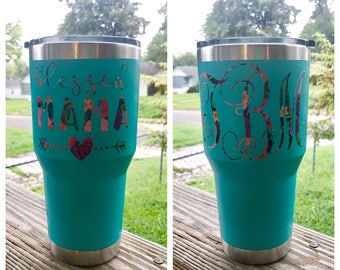 Blessed Mama Floral Tumbler