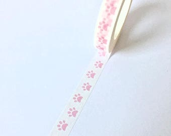 Cute small roll Washi Tape with pink animal paws // Decoration Stationary Masking Bullet Journal Craft transparent handlettering footprint