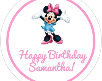 12 Customized Disney Minnie Mouse Birthday Party Labels! ANY info you want!