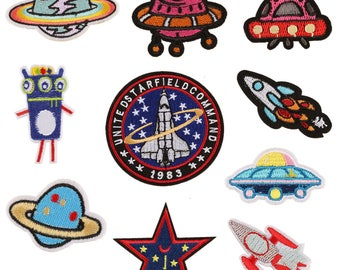 Patches,space Patch,Iron on Patch set,earth Embroidered Patch DIY, UFO patch,badges patch,
