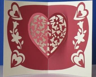 Carte kirigami pour  Amour