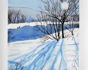 A4 Giclée Print entitled 'Soft Winter Sun' from an original watercolour painting by artist Martin Romanovsky