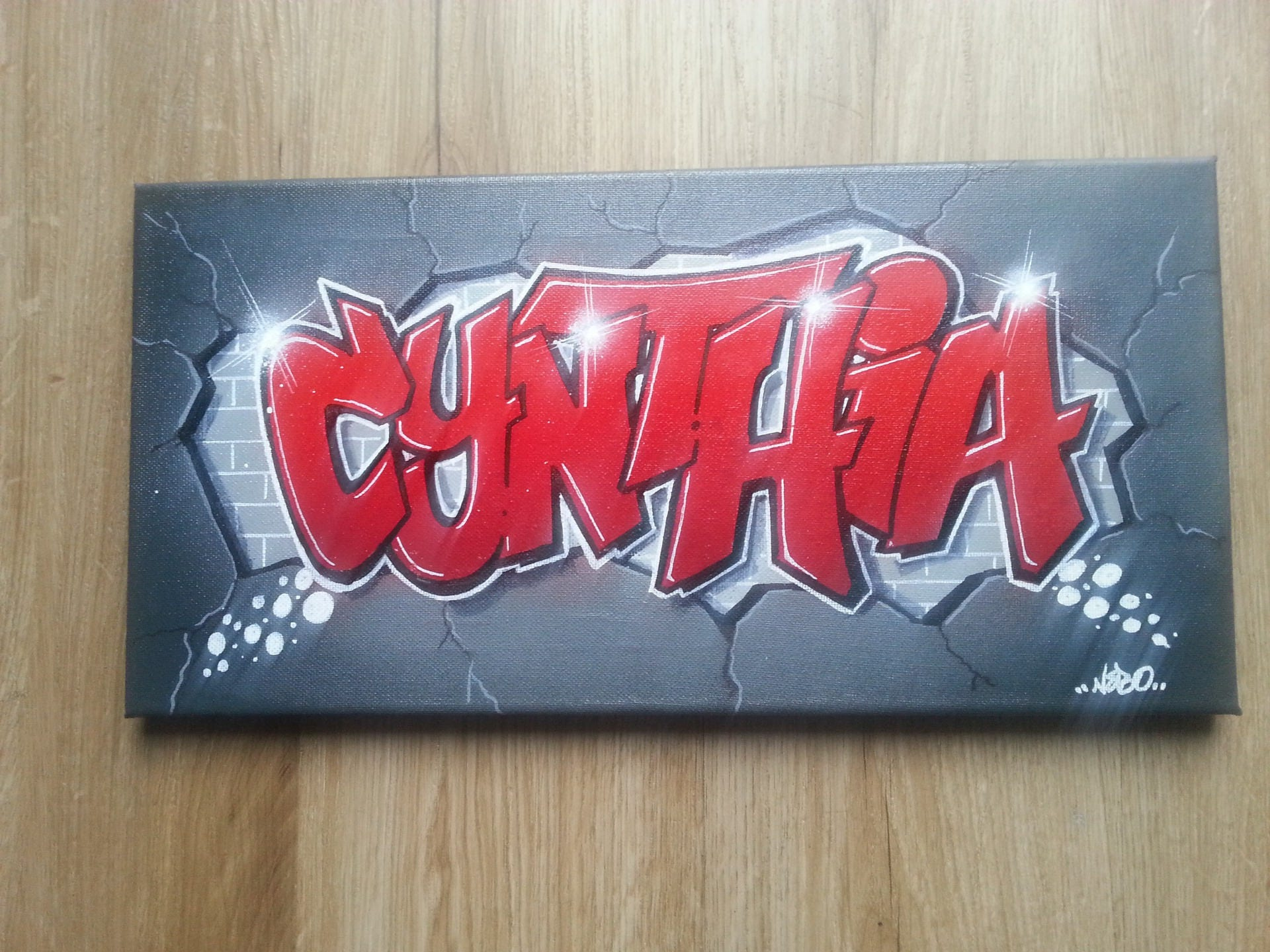 Toile tableau personnalis e peinture graffiti pr nom tableau - Prenom en tag ...