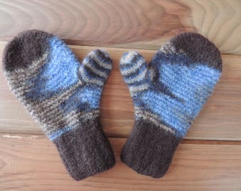 Felted Wool Mittens - Hand Knit - Brown/Blue