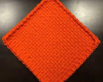 Handmade Large Woven Potholder in Orange