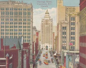 Vancouver, British Columbia, Canada Vintage Postcard - Hasting Street