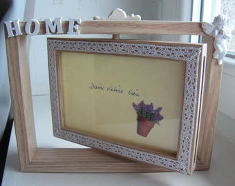 """Photos 2-sided swivel """"Angels home"""" frame and lace"""