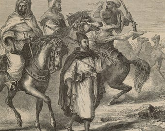 Costumes of Morocco in a Caravan, Morocco 1860 - Old Antique Vintage Engraving Art Print - Horses, Camels, Costume, Marching, Travel, Show