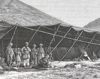 Armenia 1889, Moussa-agha camp, Old Antique Vintage Engraving Art Print, Tent, Bracing, Rug, Man, Child, Sitting, Standing, Pot, Cooking