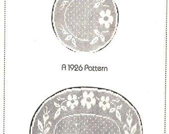 PDF Vintge 3 Piece Large Filet Crochet Oval Doily Birds and Flowers CROCHET PATTERN