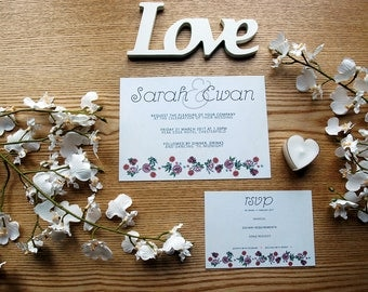 Floral Personalised Wedding Invite & RSVP Card Set with Envelopes