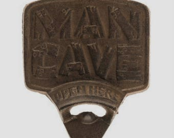 "Large Rustic Cast-Iron MAN CAVE ""Open Here"" Wall Bottle Opener"