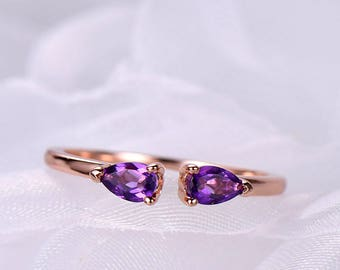 Amethyst engagement ring wedding band pear shaped sterling silver white/rose/yellow gold plated Citrine garnet topaz available