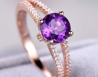 Purple Amethyst Engagement Ring 925 Sterling Silver Rose Gold CZ Diamond Split Shank Art Deco Wedding Bridal Ring Women Anniversary Gift Set