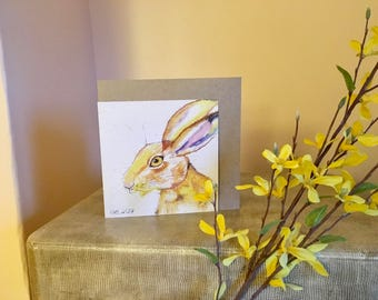 HARE greetings card, Blank, Thankyou, Easter, Birthday, wildlife, gift for her, gift for him, recycled card, compostable bag, nature lover