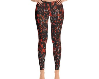 Yoga Leggings - Full Leg Leggings - Exercise Leggings - Festival Leggings - Printed Leggings - Lava Splatter Leggings
