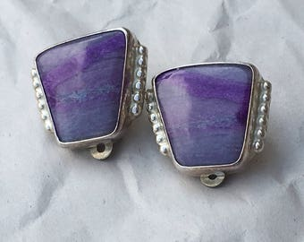Vintage Sterling Silver / Sugilite Clip-on Earrings Signed by Gene and Martha Jackson