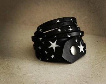 Black Leather Double-Wrap Bracelet with Stars