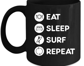Wind Surfing - Eat Sleep Wind Surfing Repeat  Gift, Christmas, Birthday Present for Wind Surfing enthusiast Black Mug