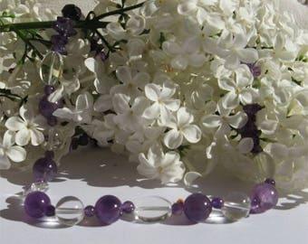 Amethyst necklace purple gemstone rock crystal