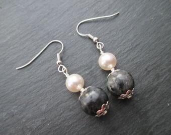 Labradorite and Swarovski White Pearl Earrings