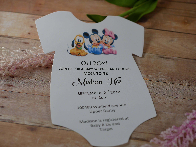 Baby Mickey baby shower invitations, Baby Shower Onesie Invitation ...