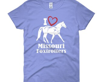 I Love Missouri Foxtrotters Womens Short Sleeve T-shirt