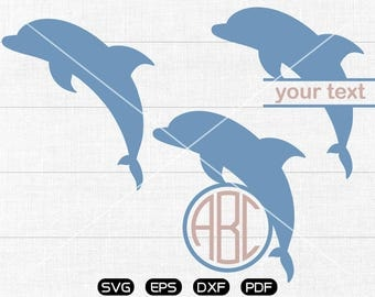 Dolphin Svg, Dolphin Clipart, Animal Monogram Frame cricut, cameo, silhouette cut files commercial & personal use