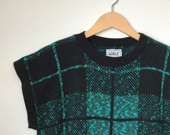 Vintage green plaid sweater shirt