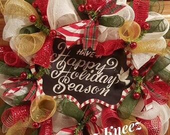 Happy Holidays Decorative Wreath