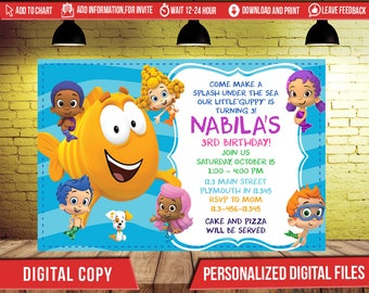 Bubble Guppies Birthday Invitation,Bubble Guppies Invitation,Bubble Guppies Birthday,Bubble Guppies Invite,Bubble Guppies,Girl Invitation ,F
