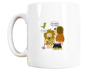 T-rex Mug: t-rex, caveman, dinosaur, t-rex mug, caveman mug, dinosaur mug, t-rex gift, caveman gift, dinosaur gift, funny caveman, monster