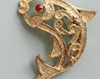 Vintage signed Gerry's koi fish brooch