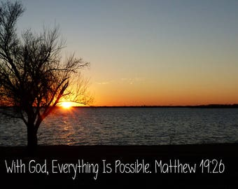 Matthew 19:26, Everything is Possible Bible Verse Wall Art, Printable, Scripture ART  11x17