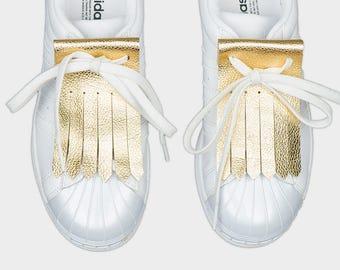 Leather shoe kilties FRINGE GOLD
