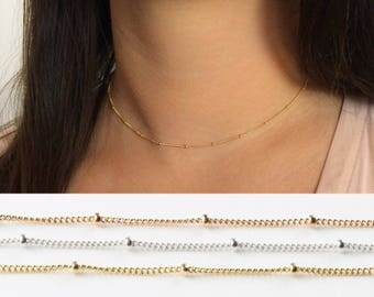 Satellite chain necklace, 14k gold filled, Rose gold or Sterling silver, Dainty beaded choker, Chain necklace, Layering necklace, Gift
